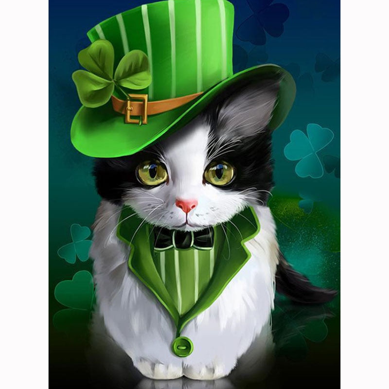 5D DIY Diamond Painting Formal Irish Cat - craft kit