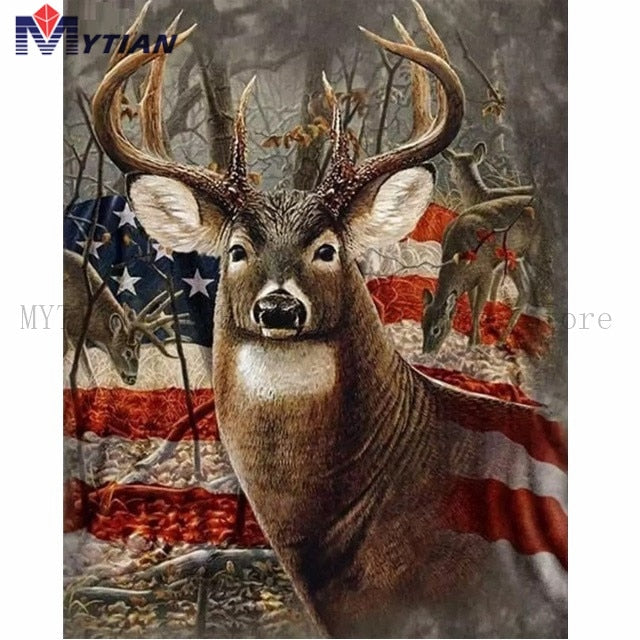 5D DIY Diamond Painting Country Buck and American Flag - craft kit