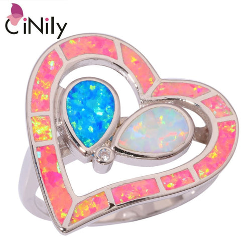 CiNily Silver Plated Created Pink Blue White Heart Fire Opal Ring