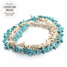 Linsoir 13x13mm Starfish White or Turquoise Color Strand 38 Beads