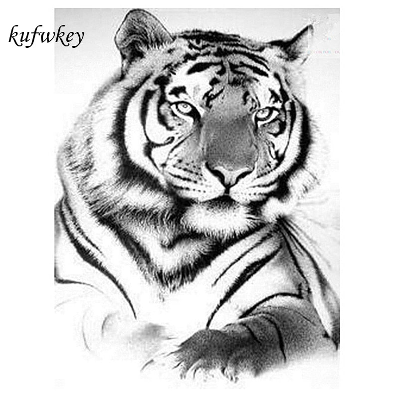 5D DIY Diamond Painting Relaxed White Tiger Pose - craft kit