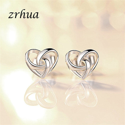 ZRHUA 925 Sterling Silver Small Heart Love Knot Earrings