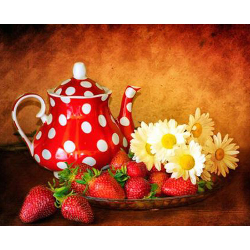 DIY Diamond Painting Strawberries and Teapot - craft kit