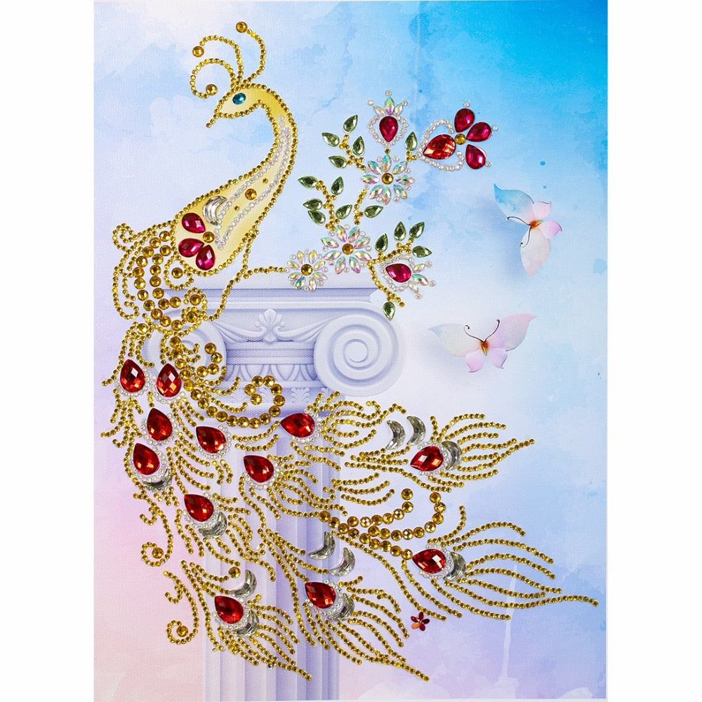 5D DIY Diamond Painting Gold Peacock Partial - craft kit