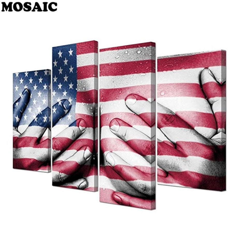 5D DIY Diamond Painting American Flag Over Chest Multi Panel - craft kit