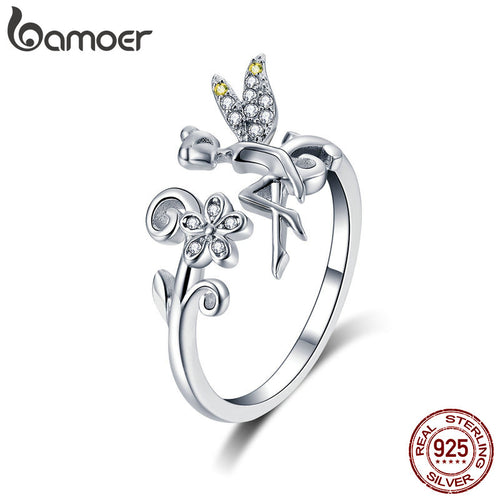 BAMOER 925 Sterling Silver Open Fairy & Daisy Flower Adjustable Ring