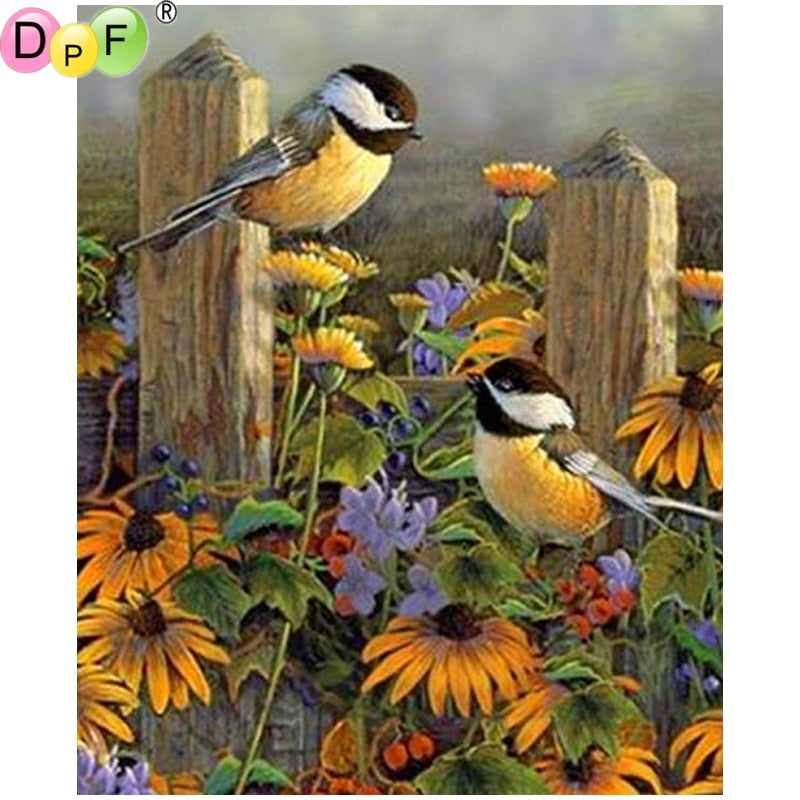 5D DIY Diamond Painting Garden Chickadees - craft kit