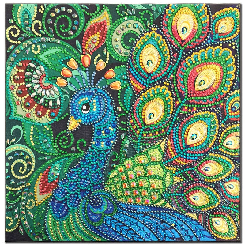 5D DIY Diamond Painting Green Peacock Head Partial - craft kit