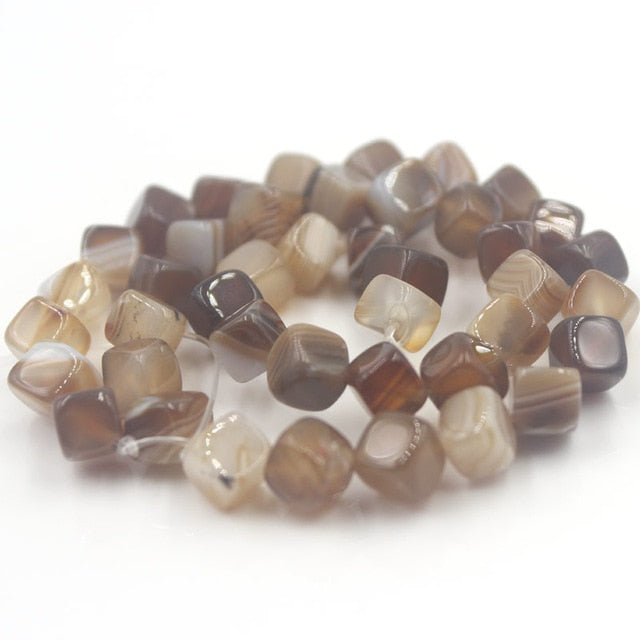 8mm Natural Stone Soft Dice Bead Banded Agate 15in strand 5 Color Options