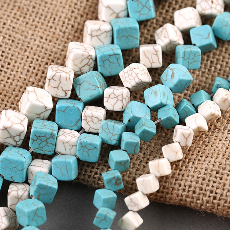 Howlite Cube Dice Beads White or Turquoise Blue in 6mm 8mm or 10mm