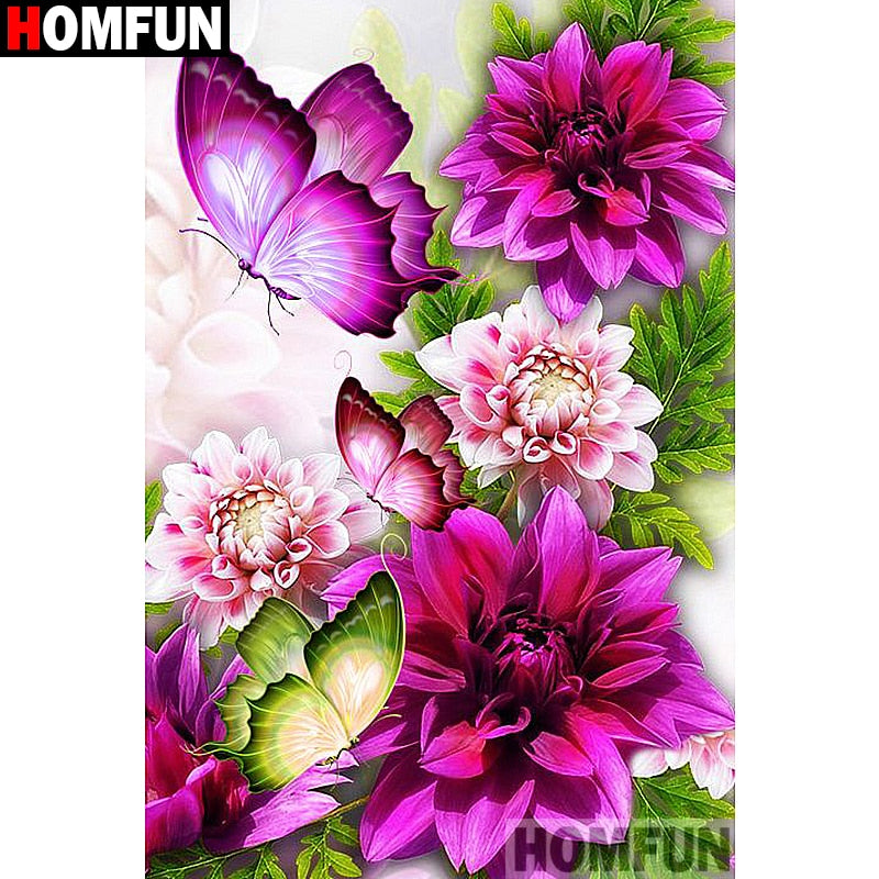 5D DIY Diamond Painting Fuchsia Pink Butterfly Floral - craft kit