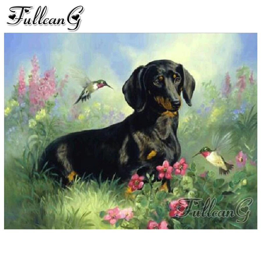5D DIY Diamond Painting Black and Tan Dachshund Dog and Hummingbirds - craft kit