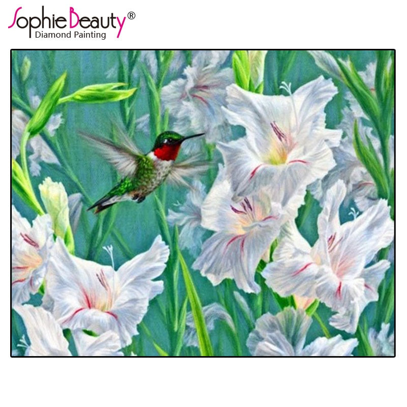 DIY Diamond Painting Hummingbird in White Hibiscus - craft kit