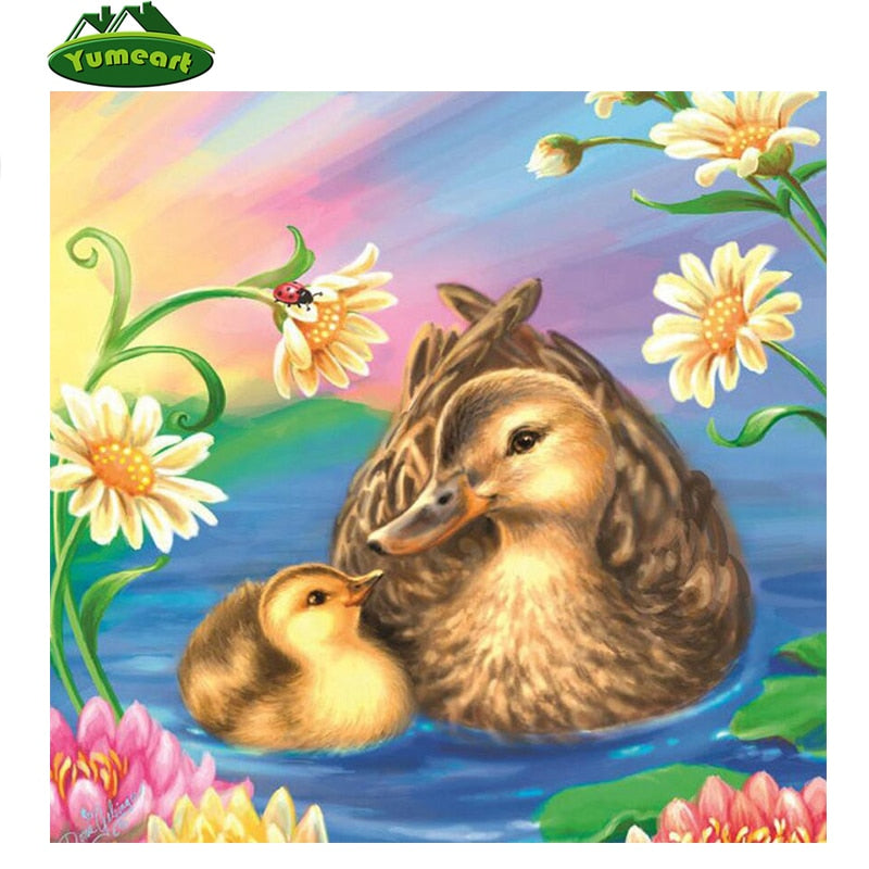 5D DIY Diamond Painting Mother and Baby Duck Drawing - craft kit