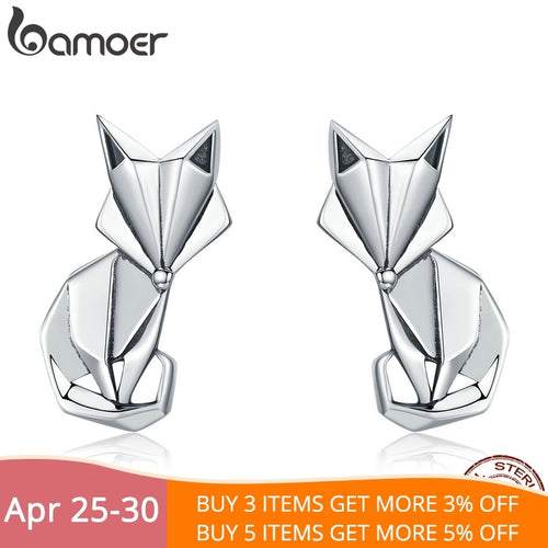 BAMOER 925 Sterling Silver Origami Fox Stud Earrings