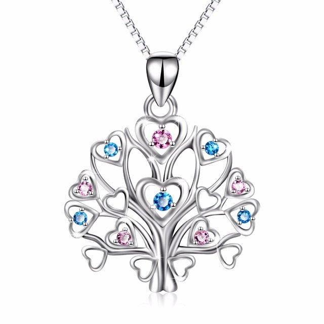 YFN Women's 925 Sterling Silver Heart Tree Of Life Pendant Necklace Pink and Blue