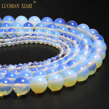 Natural Sea Glass Opalite Milky White Round Beads 4 to 12 mm Strand 15in