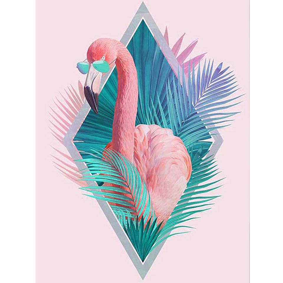 5D DIY Diamond Painting Palms Flamingo with Shades - craft kit