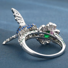 UFOORO Platinum Plated Hummingbird CZ Pave Ring