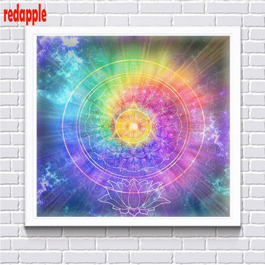 5D DIY Diamond Painting Rainbow Swirl with Lotus Flower Mandala - craft kit