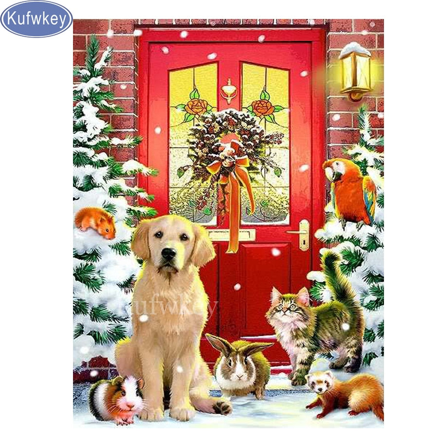 5D DIY Diamond Painting Pets at Christmas Door - craft kit