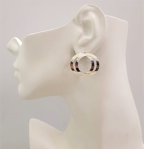 2 Circles Silver Stud Earrings