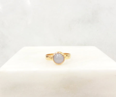 Blue Lace Agate Maxi Hammered Ring