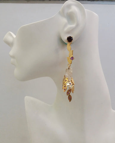 'Foliage' Twinset Earrings with Garnets, Amethysts & Rock Crystal carved Dragon