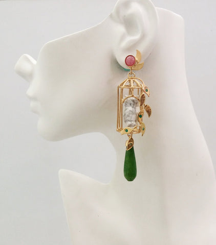 Gazebo Twinset Earrings  Pink Opal studs with detachable dangles in a birdcage design with white howlite carved owls & green jade drops.