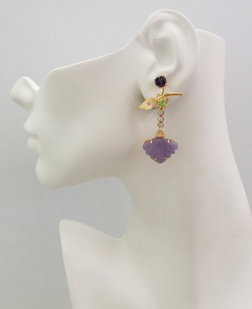 Amethyst with Peridot Leaf studs with White Topaz, Citrine & carved Amethyst Leaf Twinset Earrings