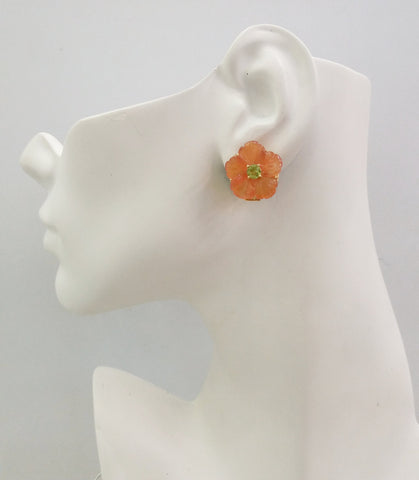 Carved flower Carnelian with Peridot studs with Peridot& carved Blue Jade Twinset Earrings