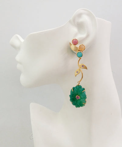 Sunstone, Carnelian & Amazonite Leaf studs with Amethysts & carved green Jade flower Twinset Earrings