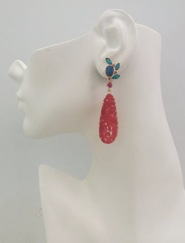 Opal and Ruby Studs with a carved Red Jade Phoenix dangle Twinset Earrings.