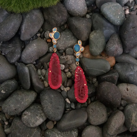 Blue Opal, Rhodolite Garnet and White Opal Stud with Blue Opal and Carved Red Jade Twinset Earrings