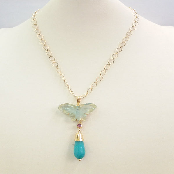 Carved Tourmaline Butterfly with Amethyst and Amazonite Terra Firma Pendant