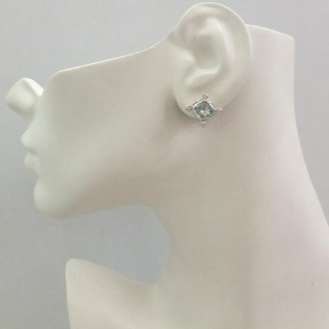Blue Topaz & White Topaz Stud with White Topaz & Blue Topaz Detachable Twinset Earrings