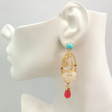 "Amazonite Stud with Rhodolite Garnet, Carved Jade Butterfly and Carnelian ""Aviary"" Twinset Earrings"