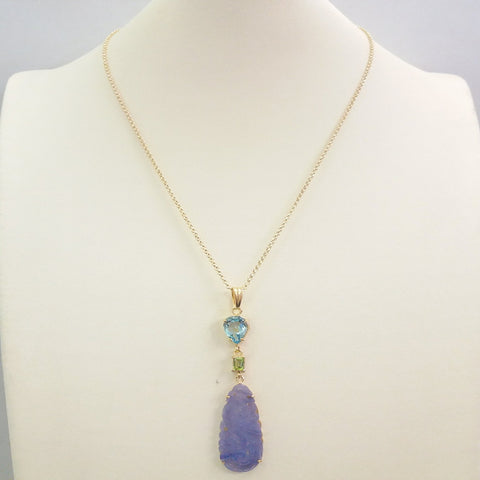 Blue Topaz with Peridot and Carved Lavander Jade Terra Firma Pendant
