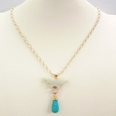 Carved Butterfly Jade with Pink Opal and Amazonite Terra Firma Pendant