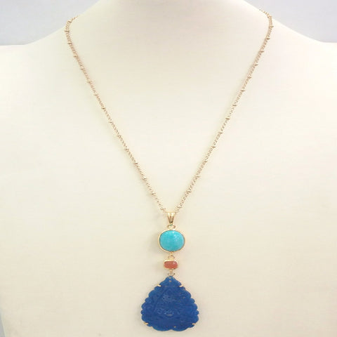 Amazonite with Carnelian and Carved Blue Jade Terra Firma Pendant