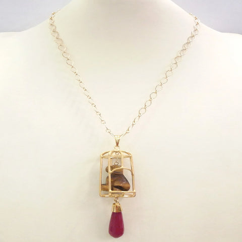 "Carved Dog Brown Tigers Eye with Red Jade ""Gazebo"" Terra Firma Pendant"