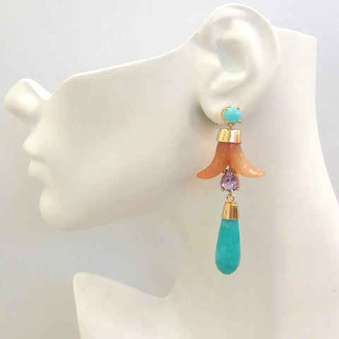 Amazonite Stud with Carnelian, Amethyst and Amazonite Twinset Earrings
