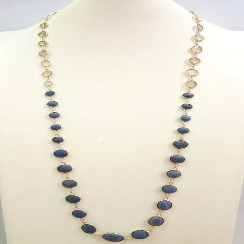 Blue Sapphire and Lemon Quartz Jeweled Chain Necklace