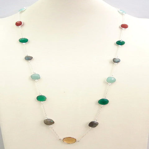 Citrine, Labradorite, Green Agate, Chalcedony and Red Carnelian Jeweled Chain Necklace