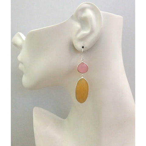 Pink Quartz and Yellow Chalcedony Double Drop Earrings