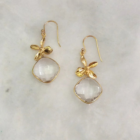 Flower with Clear Quartz Double Drop Earrings