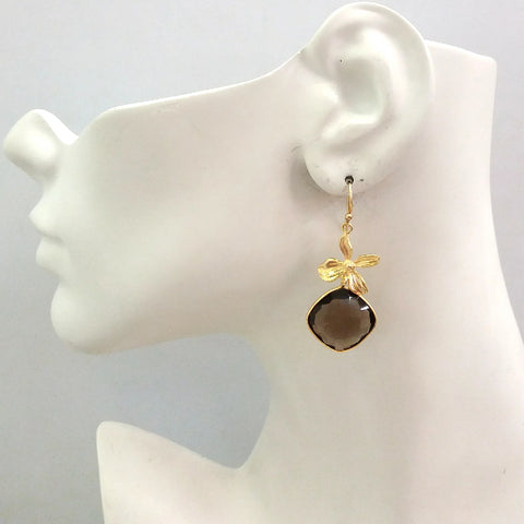 Flower with Smokey Quartz Double Drop Earrings