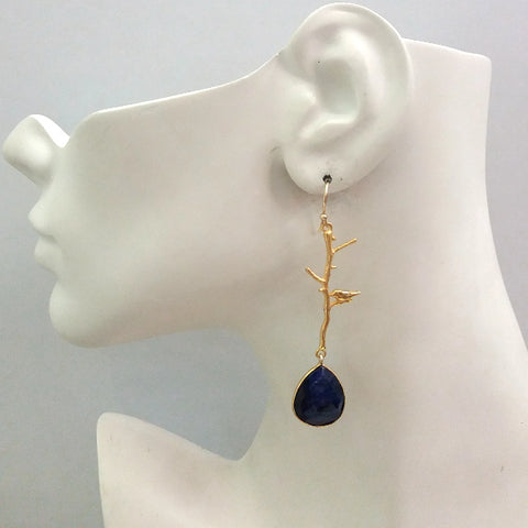 Ibon on Branches with Blue Sapphire Double Drop Earrings
