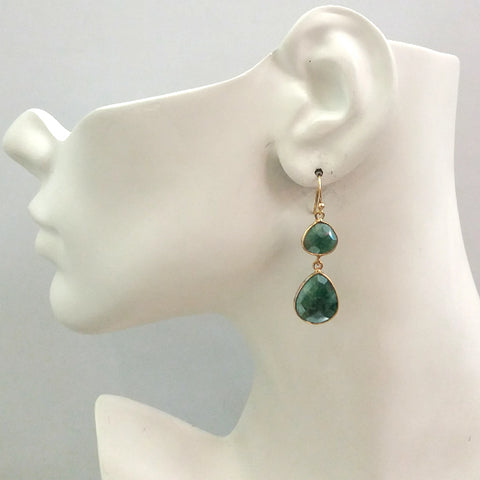Emerald Double Drop Earrings