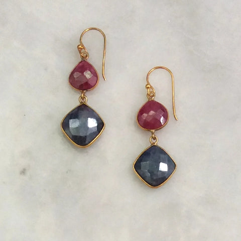 Ruby and Blue Sapphire Double Drop Earrings